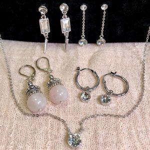 Pink Rose Quartz and Clear Rhinestone Earrings Set